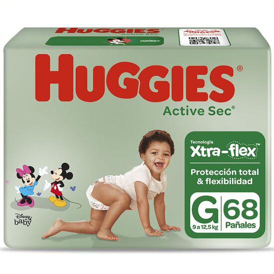 Pañales Huggies Active Sec  Xtra Flex Pack (1 paq x68 un) Talla G