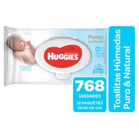 Toallitas Húmedas Huggies Puro&Natural Pack 768 Un (12 paq. x 64 un)