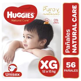 Pañales Huggies Natural Care Unisex Pack 56 Un (1 paq. x 56 un). Talla XG