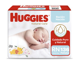 Pañales Huggies Natural Care Unisex Pack 136 Un (4 paq. X 34 un). Talla RN