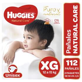 Pañales Huggies Natural Care Unisex Pack 112 Un (2 paq. x 56 un). Talla XG