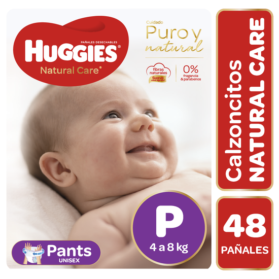 Pants Huggies Natural Care Unisex 48 un Talla P