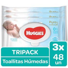 Toallitas Húmedas Huggies Puro & Natural (Tripack 3 Paq x 48 un)