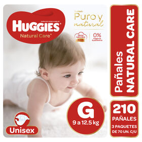 Pañales Huggies Natural Care Unisex Pack 210 Un (3 paq. x 70 un). Talla G