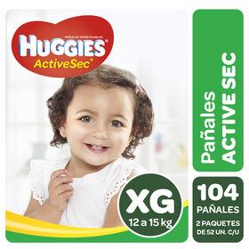 Pañales Huggies Active Sec Pack 104 Un (2 paq. x 52 un). Talla XG