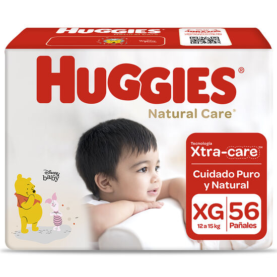 Pañales Huggies Natural Care Unisex Pack 56 Un (1 paq. x 56 un). Talla XG
