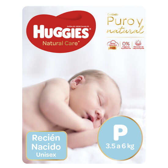 Pañales Huggies Natural Care Unisex Pack (2 Paq. x 34 un) Talla P