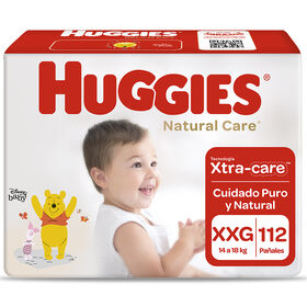 Pañales Huggies Natural Care Xtra Care Pack 112 Un (2 paq. X 56 un). Talla XXG
