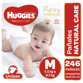 Pañales Huggies Natural Care Unisex Pack 246 Un (3 paq. x 82 un). Talla M