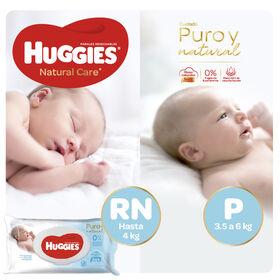 Pañales Huggies Natural Care - Pack Baby Shower- 204 uds. - Talla RN + P + Toallitas Húmedas