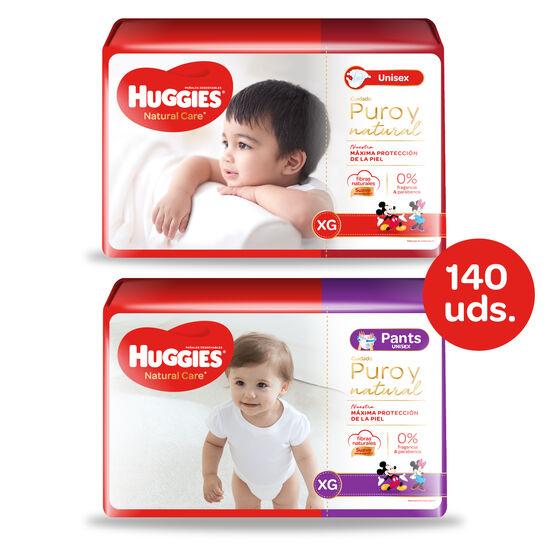 Huggies Natural Care Unisex - Pack Pañales + Pants - 140 uds. - Talla XG