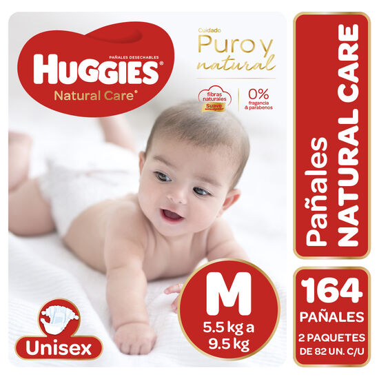 Pañales Huggies Natural Care Unisex Pack 164 Un (2 paq. x 82 un). Talla M