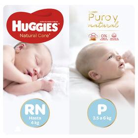 Pañales Huggies Natural Care Unisex - Pack Primeros Días - 204 uds. - Talla RN + P