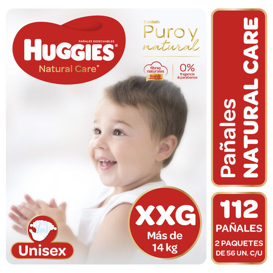 Pañales Huggies Natural Care Unisex Pack 112 Un (2 paq. X 56 un). Talla XXG