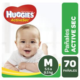 Pañales Huggies Active Sec Pack (1 paq. x70 un) Talla M