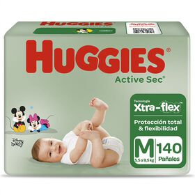 Pañales Huggies Active Sec Xtra Flex Pack 140 un (2 paq. x 70 un). Talla M