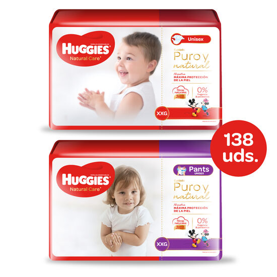 Huggies Natural Care Unisex - Pack Pañales + Pants - 138 uds. - Talla XXG
