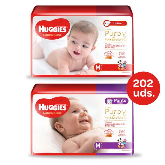 Huggies Natural Care Unisex - Pack Pañales + Pants - 202 uds. - Talla M