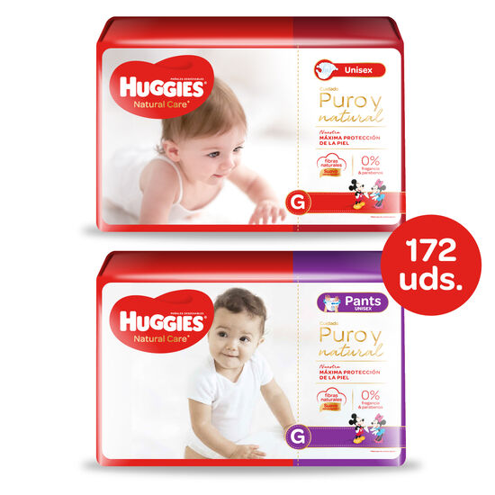 Huggies Natural Care Unisex - Pack Pañales + Pants - 172 uds. - Talla G