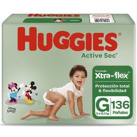 Pañales Huggies Active Sec Xtra Flex Pack 136 Un (2 paq. x 68 un). Talla G