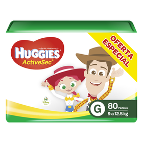 Pañales Huggies Active Sec Unisex (G) x80