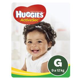 Pañales Huggies Active Sec Pack (1 paq x68 un) Talla G