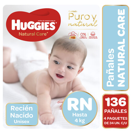 Pañales Huggies Natural Care Unisex Pack 136 Un (4 paq. X 34 un). Talla RN