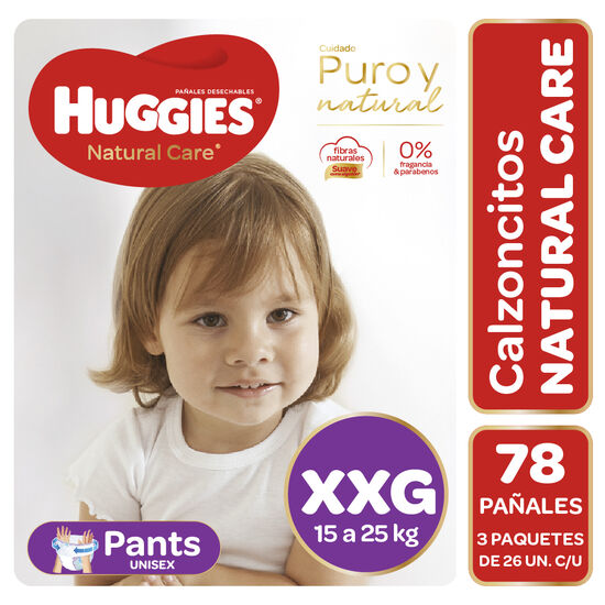 Pants Huggies Natural Care Unisex  Pack78 Un  (3 paq. x 26 un). Talla XXG