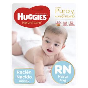 Pañales Huggies Natural Care Unisex Pack (2 Paq. x 34 un) Talla RN