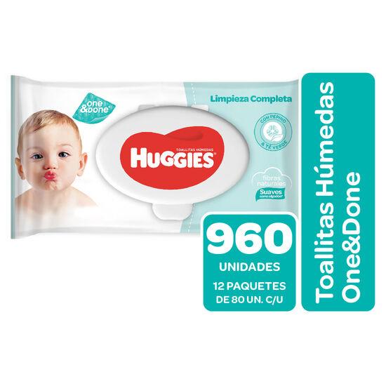 Toallitas Húmedas Huggies One&Done Pack 960 Un (12 paq. x 80 un)