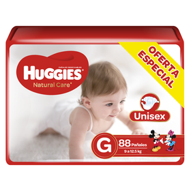 Pañales Huggies Natural Care Unisex (G) x88