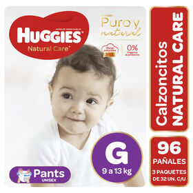 Pants Huggies Natural Care Unisex  Pack 96 Un (3 paq. x 32 un). Talla G
