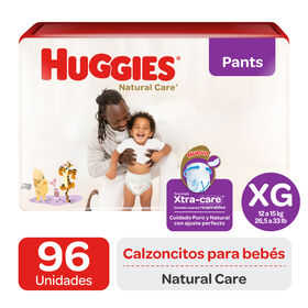 Pants Huggies Natural Care XtraCare   Pack 96 un (2 paq. x 48 un). Talla XG