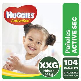 Pañales Huggies Active Sec Pack 104 Un (2 paq. x 52 un). Talla XXG
