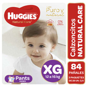 Pants Huggies Natural Care Unisex  Pack 84 Un (3 paq. x 28 un). Talla XG