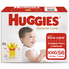 Pañales Huggies Natural Care Unisex Pack 56 Un (1 paq. X 56 un). Talla XXG