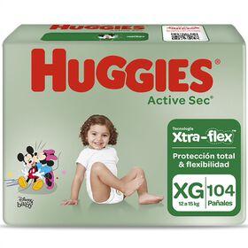 Pañales Huggies Active Sec Xtra Flex Pack 104 Un (2 paq. x 52 un). Talla XG