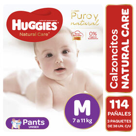 Pants Huggies Natural Care Unisex  Pack 114Un (3 paq. x 38 un). Talla M