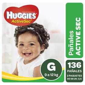 Pañales Huggies Active Sec Pack 136 Un (2 paq. x 68 un). Talla G