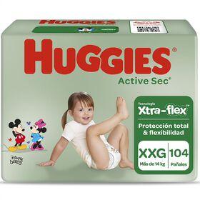 Pañales Huggies Active Sec Xtra Flex Pack 104 Un (2 paq. x 52 un). Talla XXG