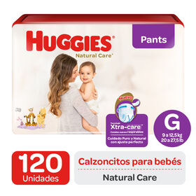 Pants Huggies Natural Care XtraCare   Pack 120 un (2 paq. x 60 un). Talla G