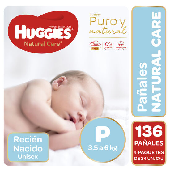 Pañales Huggies Natural Care Unisex Pack 136 Un (4 paq. X 34 un). Talla P