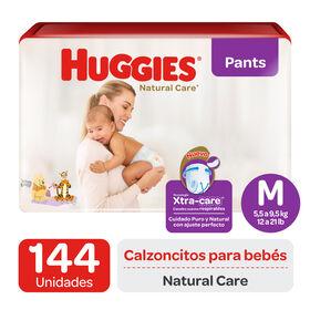 Pants Huggies Natural Care XtraCare   Pack 144 un (2 paq. x 72 un). Talla M