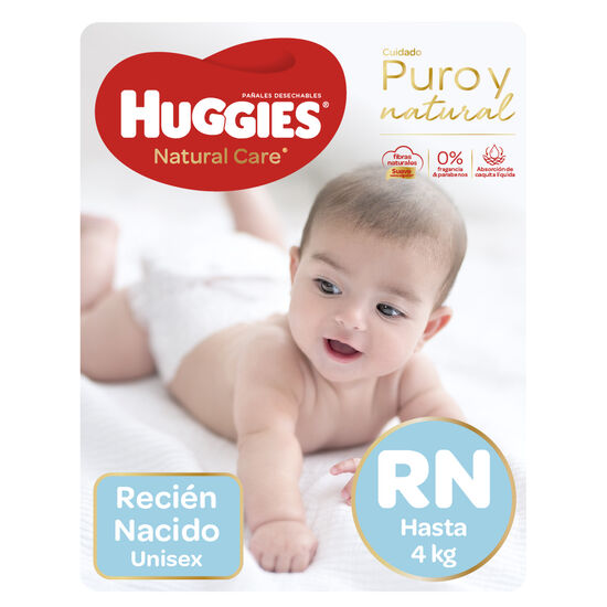 Pañales Huggies Natural Care Unisex Pack (2 Paq. x 34 un) Talla RN